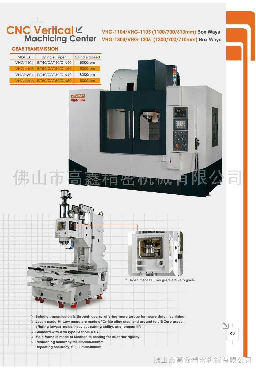 迈鑫MANFORD VHG-1304/VHG-1305立式加工中心